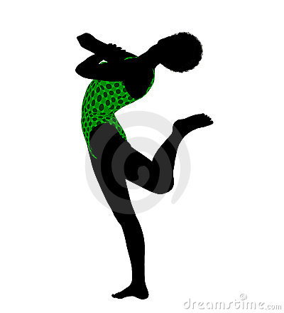 Female African American Yoga Silhouette