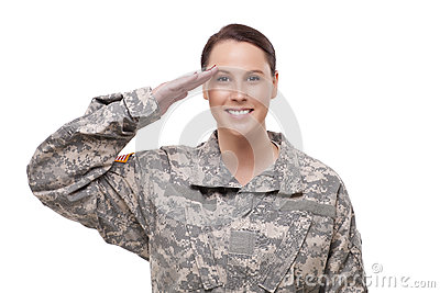 Female American soldier saluting