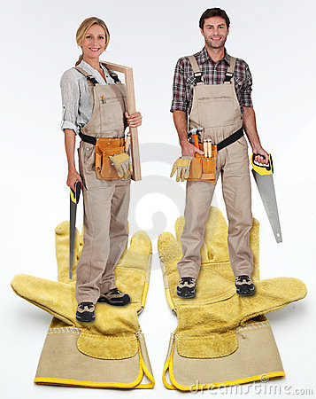 Free Female And Male Carpenter Royalty Free Stock Image - 21762666