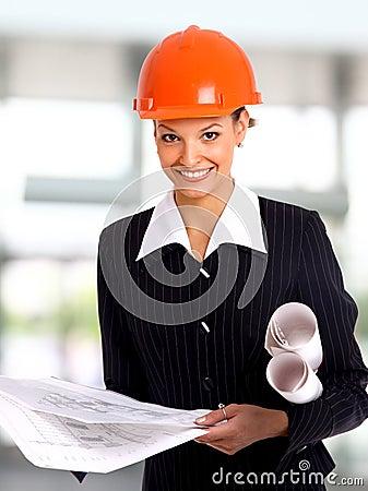 Female architect holding
