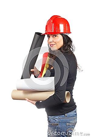 Female architect holding plans