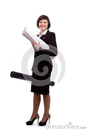 Female architect holding tube with blueprints.
