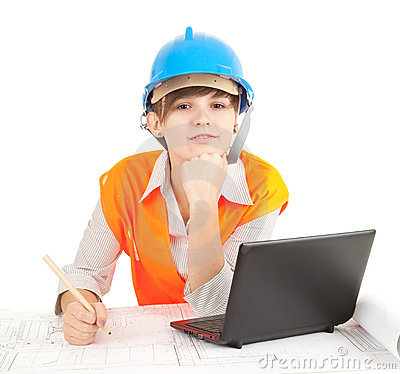 Female architect with laptop