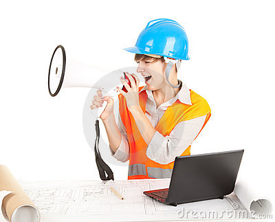 Female architect with laptop and megaphone