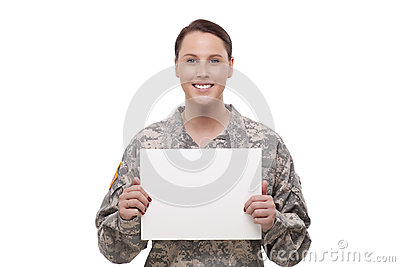 Female army soldier with a placard