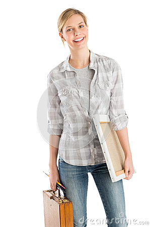 Free Female Artist With Wooden Case And Canvas Smiling Stock Images - 32145814