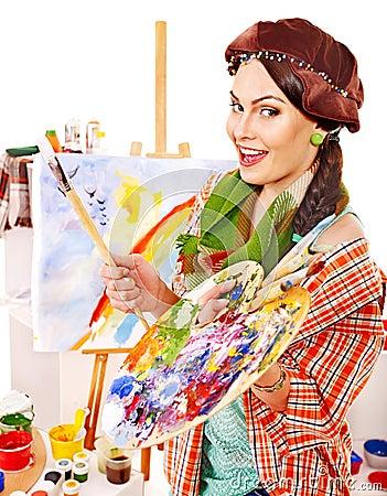 Female artist at work.