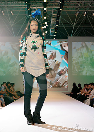 Female asia model at a fashion show Editorial Photography