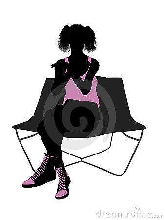 Female Athlete On A Lounge Chair Silhouette