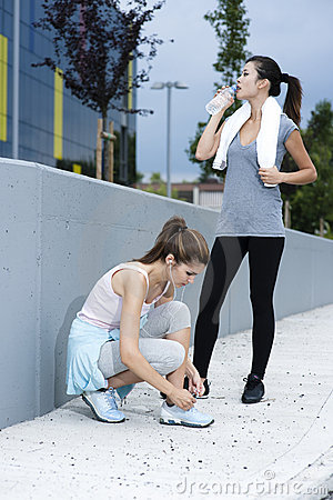 Female athletes taking a rest