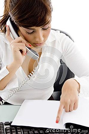 Female attorney recieving phone call