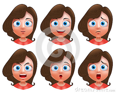 Female avatar vector character. Set of teenager girl heads Vector Illustration