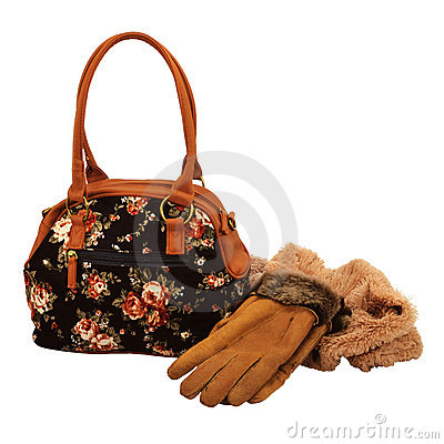 Female bag, gloves and scarf