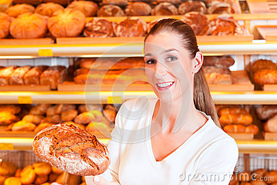 Female baker in her bakery