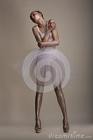 Seductive Woman in White Transparent Dress Tutu in Dramatic pose. Dreams