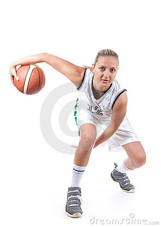Female basketball player in action