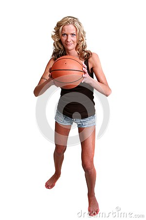 Female basketball player isolated on white