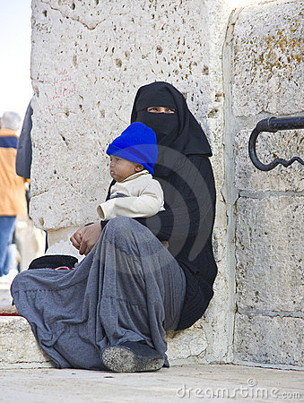 Female beggar on the Temple Mount, Jerusalem Editorial Image
