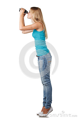 Female with binoculars