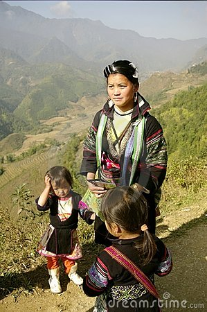 Female black and ethnic Hmong with childrens