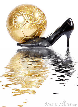 Female black shoes with football ball.
