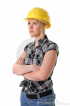 Female blond construction worker in hard hat