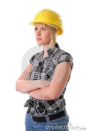 Female blond construction worker in hard hat