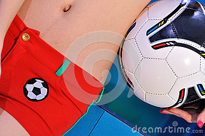 Female body and football