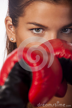 Female boxer closeup