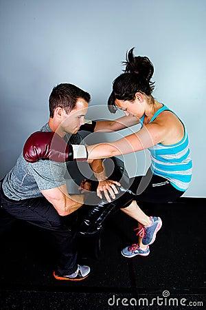 Female boxer in training
