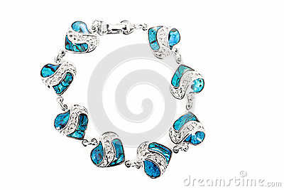Female bracelet with hearts isolated on white