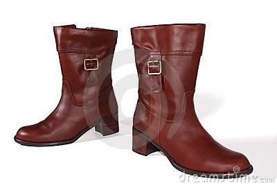 Female brown leather boots