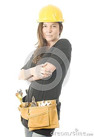 Free Female Builder  Tool Belt  Hard Hat Helm Stock Photos - 21363673
