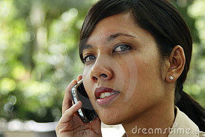 Female business executive on the phone