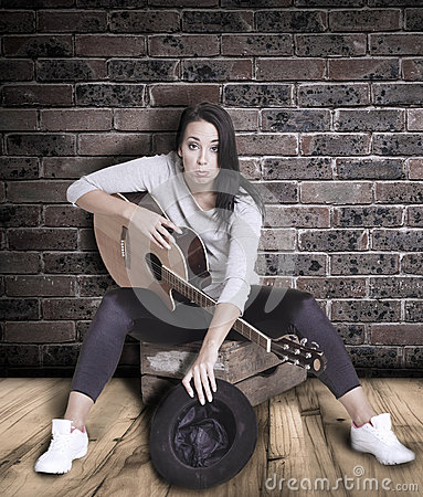 Free Female Busker. Stock Photography - 47242772