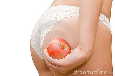 Female buttocks and apple