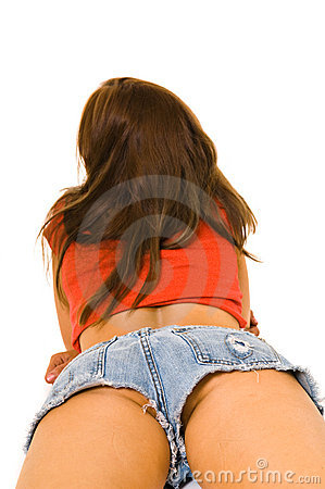 Female buttocks in daisy  duke shorts