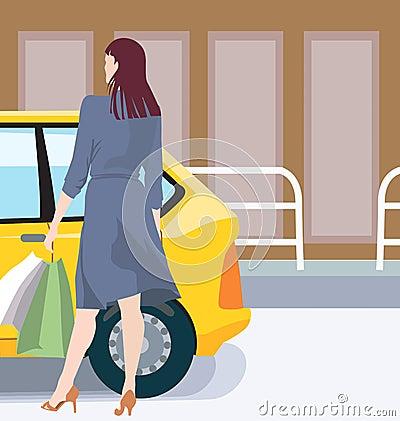 Female and car