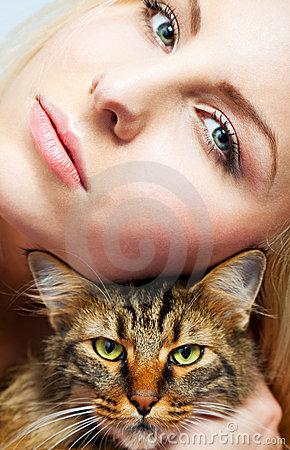 Female and cat