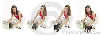 Female with cat in pet carrier