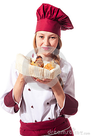 Female Chef with croissant