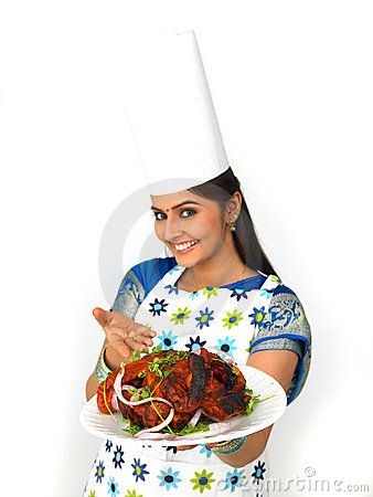 Free Female Chef With Her Roasted Chicken Stock Images - 7879874