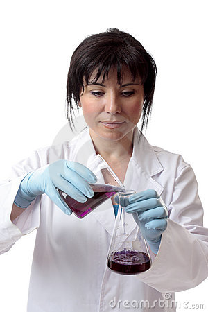 Female chemist at work