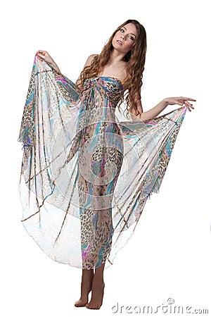 Female in chiffon dress