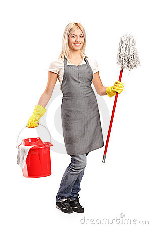 Female cleaner holding a bucket