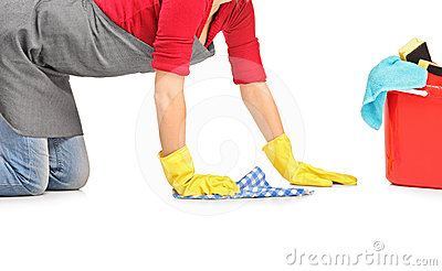 Female cleaner wiping down