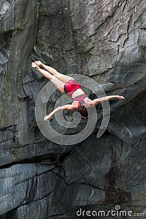 Female cliff diver Editorial Photo