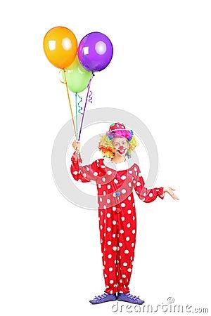 Female clown, happy joyful expression