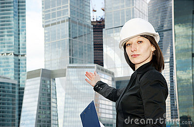 Female construction worker in hard hat