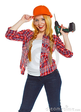 Free Female Construction Worker In A Hard Hat With A Perforator Royalty Free Stock Photo - 71982285
